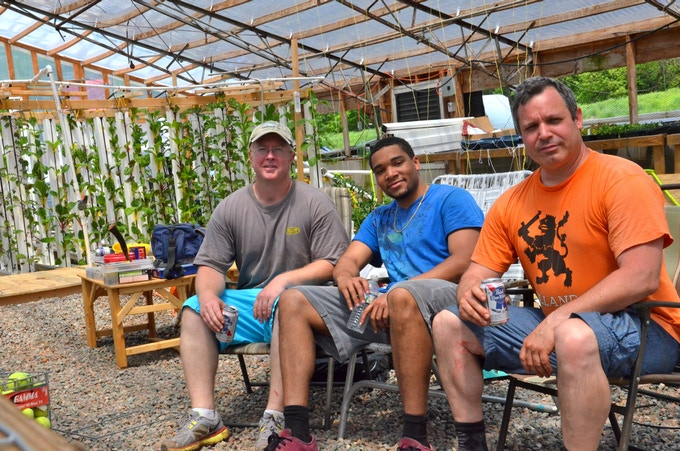 Me, Brandon, and Joe after shoveling a ton of rocks to clear a spot for a large DWC growing area.