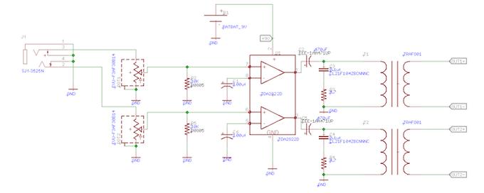 Basic PVDF stereo driver circuit