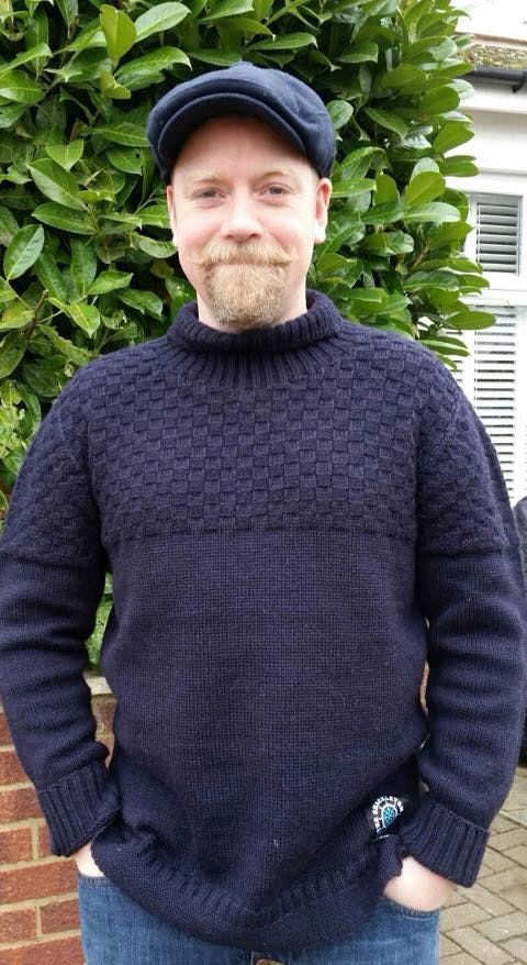 Actor, comedian and presenter Rufus Hound sports a whiskery smile and a Shackleton sweater!