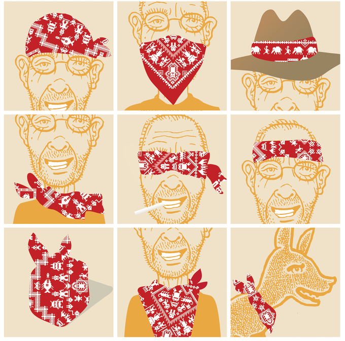 Just a few of the gazillion uses for a BADbandana modeled by Don and dog. (Don's the one wearing glasses.)