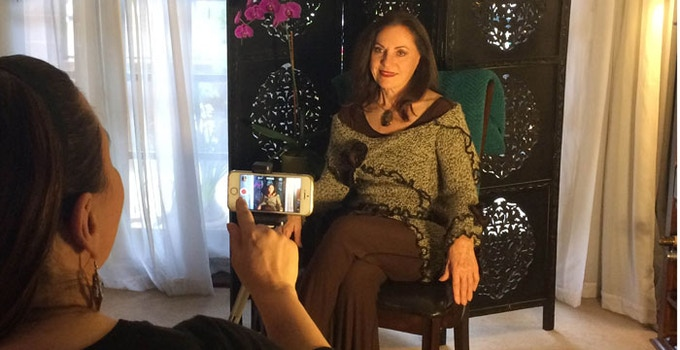 Roxxanne interviewing Angelika Nemeth for the Documentary