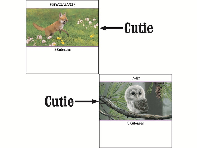 Example of Cuties (black borders are to show card shape)
