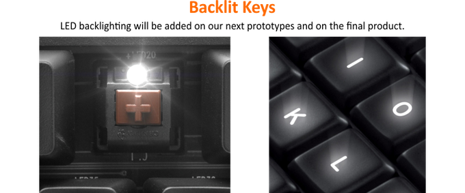 Note:  These pictures are of other backlit keyboards for demonstration purposes only.  See below for KeyMouse key layout.