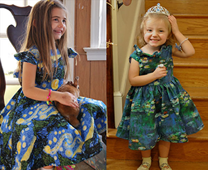 """Special occasion dresses - Van Gogh's """"Starry Night"""" and Monet's """"Water Lilies"""""""