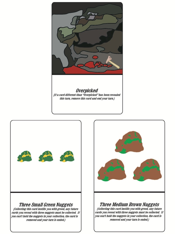 Examples of Overpicked and Three Nugget Cards (black border represents card shape)