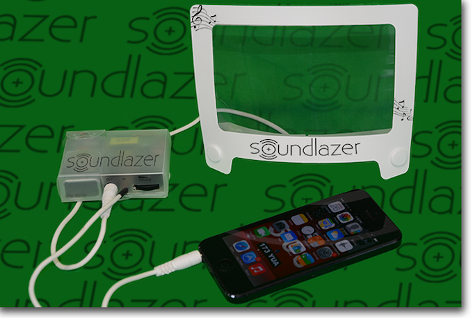 Thin Film Speaker Kit (135mm X 90mm) with stand - mono audio amplifier included. (iPhone not included)
