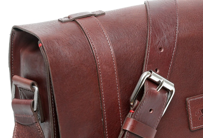 Ox Blood Messenger Bag With Red Keep Stitch
