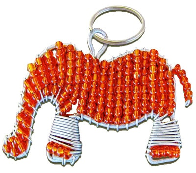 A hand beaded elephant key chain made by crafts people in South Africa. Elephant approved!