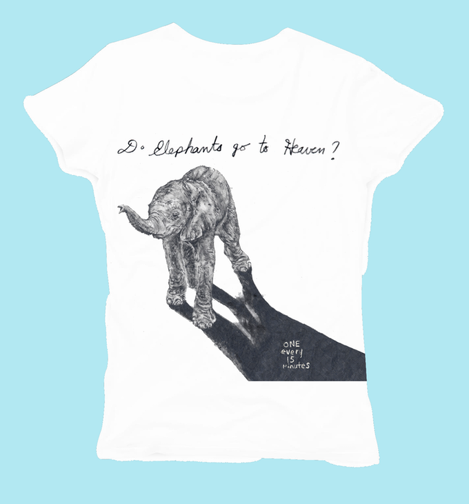 T-shirt exclusively designed for DO Elephants Go To Heaven by noted Artist Amanda Nedham
