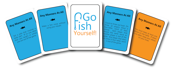 "Orange cards are rules you have to follow the whole game. Blue cards are tasks you only have to perform once. The white ""Go Fish Yourself!"" cards force other players to make a pair instead of you."