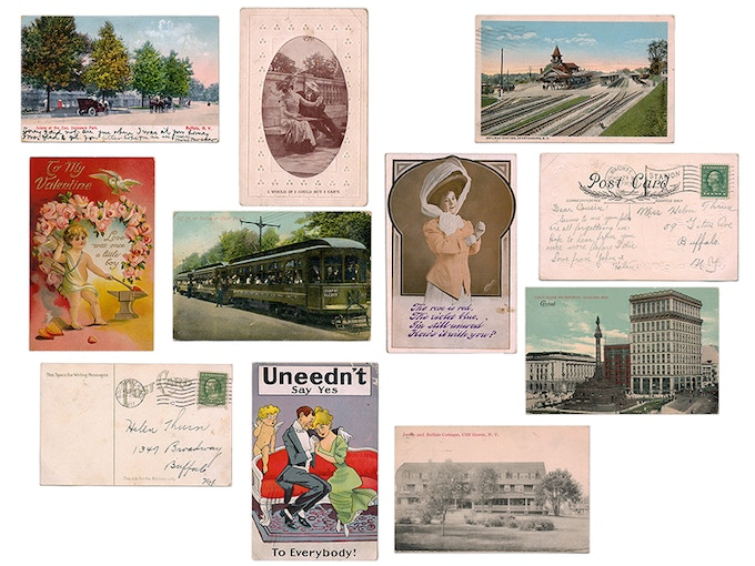 Some of the postcards from the scrapbook.