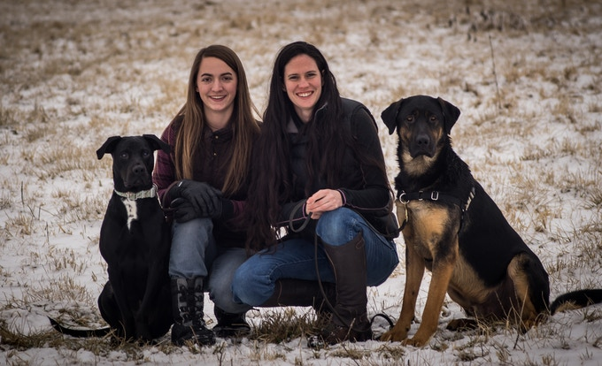 Sarah and Ivy and their dogs - Zoey and Cloud