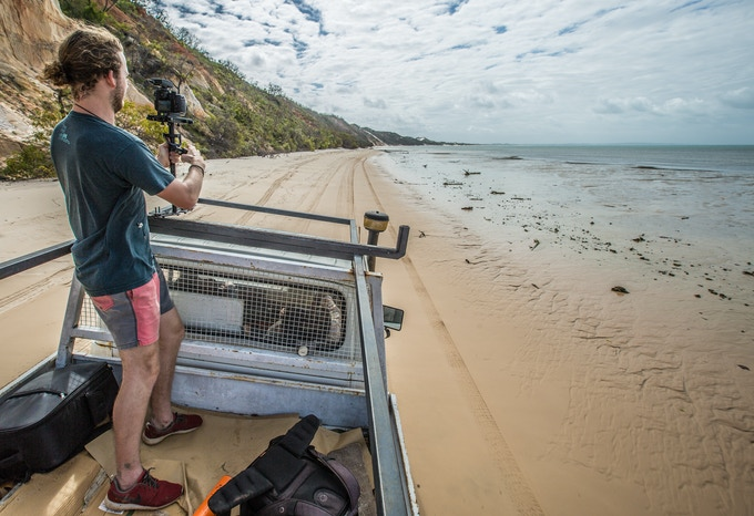 The Director of Photography, David Copithrone on location in far north Queensland filming the Travel Global Think Local trailer seen above.