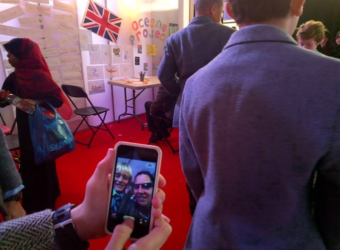 Taking a 'selfie' with a student after a motivational talk about the Great British Viking Quest expedition.