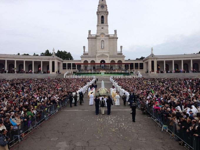 Filming at Fatima, in Portugal