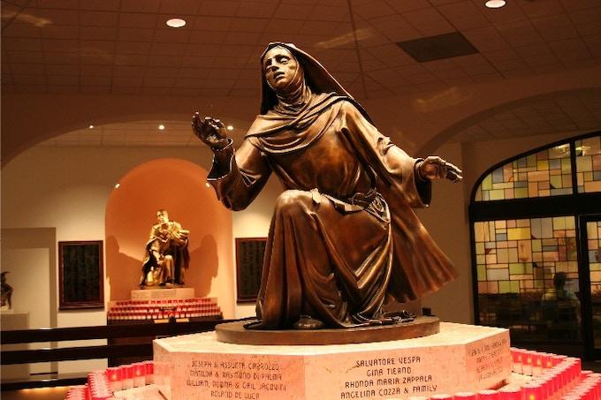 Statue of St Rita of Cascia at Philadelphia's National Shrine of St Rita