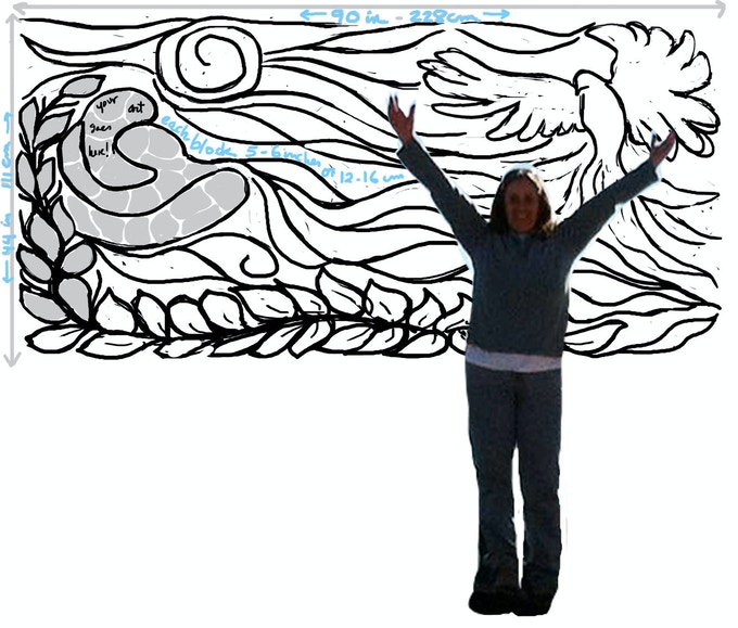 Peace Puzzle sketch to scale with totally fearless leader