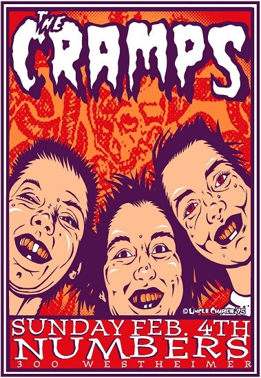 """Signed Uncle Charlie 12"""" x 18"""" poster of The Cramps @ Numbers 1995 (print)"""