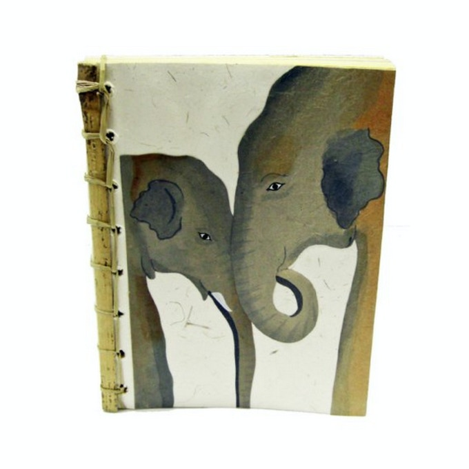 A handmade journal made from elephant poo paper (Yup! Elephant poo can be processed and made into beautiful paper products)