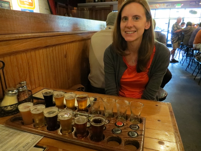 To learn more about beer, Ryan and Sarah toured some of the best breweries and brewing regions in America. Sarah is pictured here at Russian River Brewing Co, widely considered one of the best breweries in the country.
