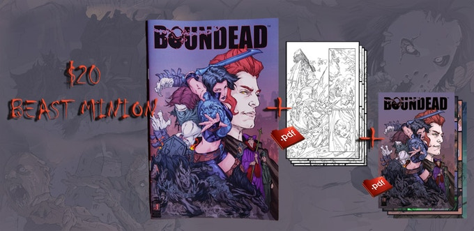 A signed physical copy of Boundead issue#1, a PDF of Boundead #1 including bonus materials and a PDF of Boundead #2 linework. With your name written in the book.