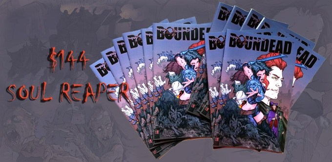 A dozen signed physical copies of Boundead issue#1 with your name written in the books.
