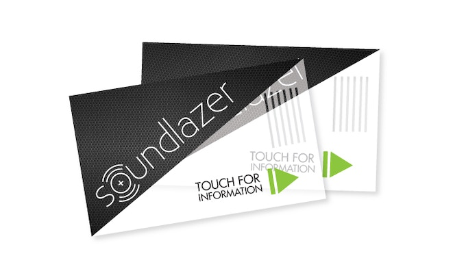 Business cards with built in speakers.