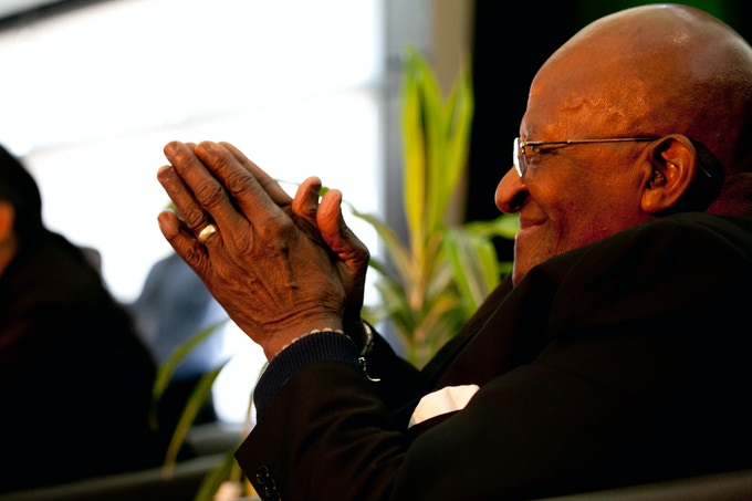 Archbishop Desmond Tutu speaking at a conference in Fort McMurray, the heart of the tar sands.  High resolution image by National Observer's Bill Weaver for $150 reward