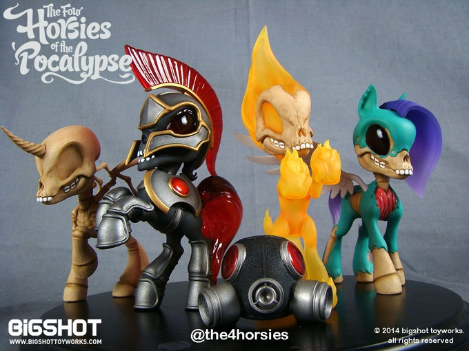 Pictured are paint master prototypes of the Four Horsies figures (original colorway, limited to 1000 sets in this colorway)