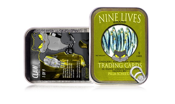 Complete set of trading cards in Limited Edition Sardine Tin -- signed by Gary Pilla and Greg Scheetz! (pre-production concept art)