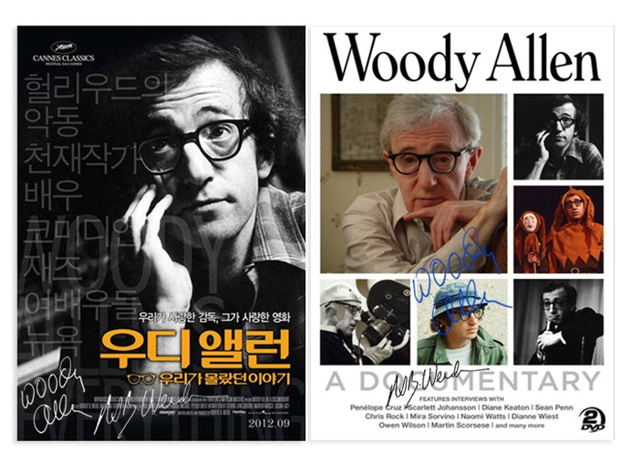 "For fans of Weide's ""Woody Allen: A Documentary"": A 1-sheet movie poster (different countries) signed by Woody Allen and director Weide ($725). (Very rare. Limited to 10). Also Region 1 ($225) and Region 2 ($240) DVDs signed by Allen & Weide."