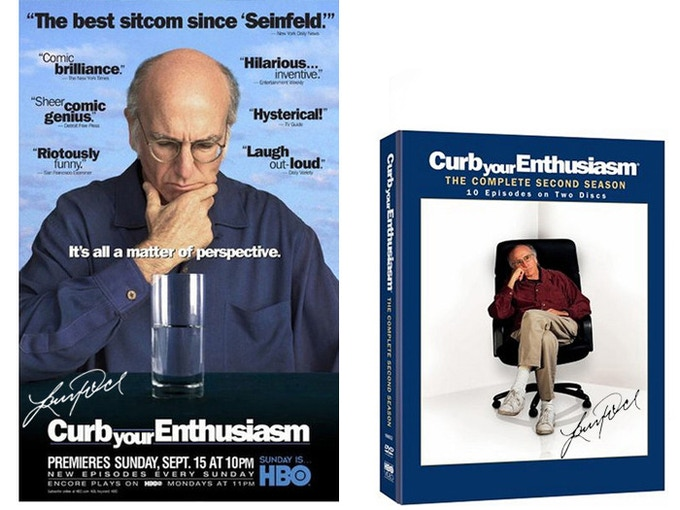 "For the Curb fans: 1-sheet movie-style poster for ""Curb Your Enthusiam,"" ($500) or a DVD ($155) signed by all the principal cast (Larry, Cheryl, Jeff, Susie) and director Robert Weide. (Only 6 posters. Extremely rare.)"