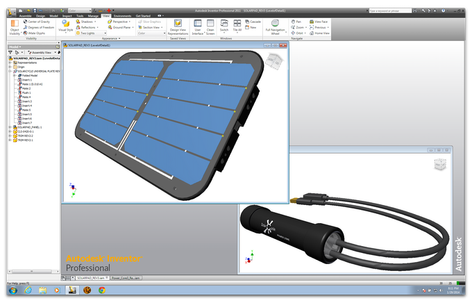 3-D CAD Models of Solarpad and Power Core.