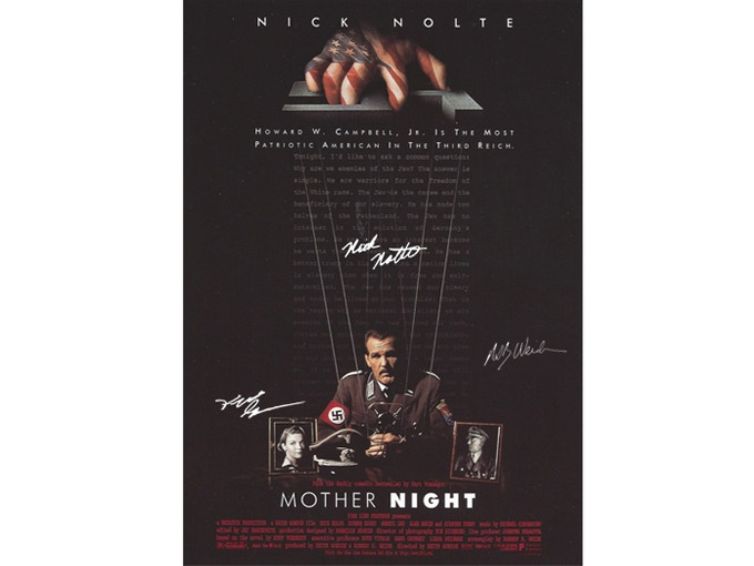 "This promo art for ""Mother Night"" (the movie) available at different pledge levels, from postcard size, to mini poster (14x20) to full 1-sheet (27x40).  Autographs by writer Weide, director Keith Gordon, star Nick Nolte."