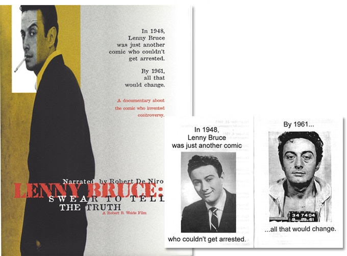 "Lenny Bruce fans: 1-sheet movie poster for Weide's Oscar-nominated ""Lenny Bruce: Swear to Tell the Truth."" Very rare. ($550). For $35: 2 programs. 8.5""x11"" of poster art + 7-page B&W program from early invitational screening."