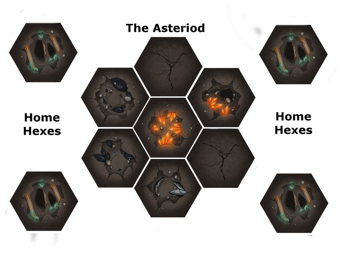 The board is arranged as above; making an asteroid from the cavern hexes.