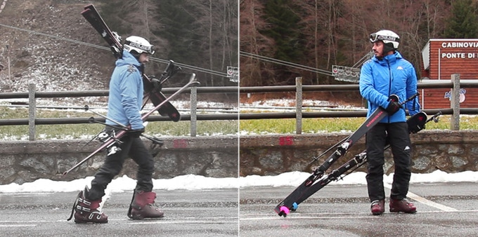 Carrying your skis without and with SKIDDI