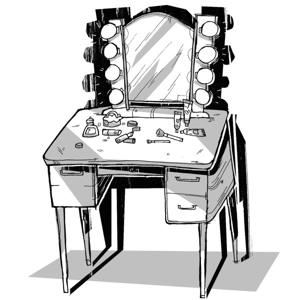 The makeup vanity in her father's painting studio, by Vicki Nerino