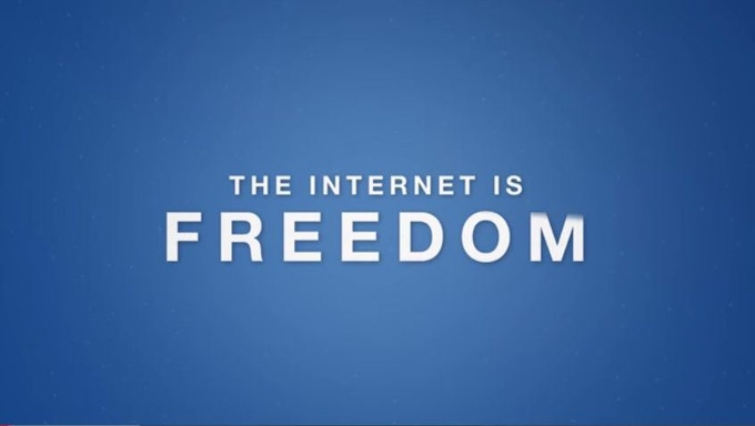 """Internet is Freedom"" — a campaign supported by Google"