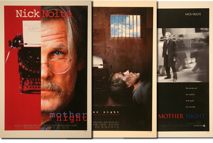 "Early mock-up posters pitched for ""Mother Night"" film, never before published or seen by public. Out of 25, four beautiful 11x17 posters will be bundled at random as a $150 reward."