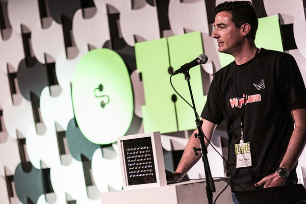 David presenting at the Open Hardware Summit, November 2012, with a ClockTHREEjr