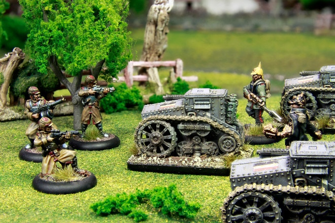 Brave Federal Infantry stand firm against a barrage of Prussian Kettenkarre Tankettes.