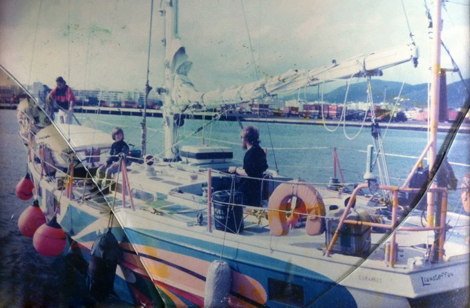 That's me on the deck with my Mum at the bow, and Dad at the helm