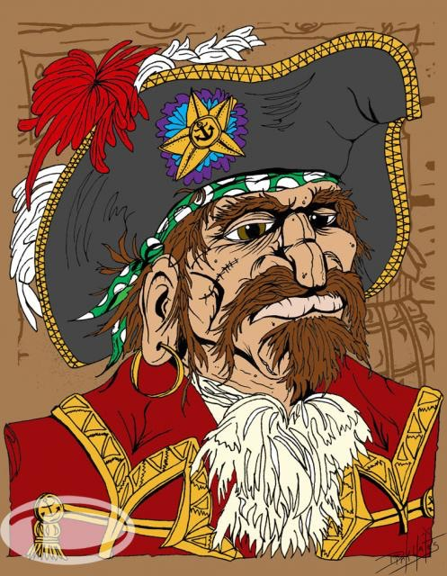 """$15.00 Option - 5""""x7"""" Matted Mini Print of """"Cap'n Abraham Flynt""""  Cap'n the King of the Pyrates ... In my Enchanted Island Kingdom of Lana Pua"""