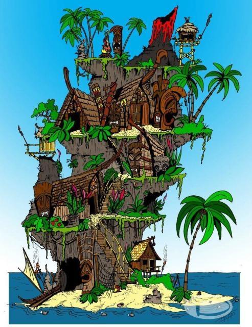"$25.00 Option - 8""x10"" Matted Mini Giclee of Lana Pua - The Mother Island from ""The Enchanted Island Kingdom of Lana Pua"""