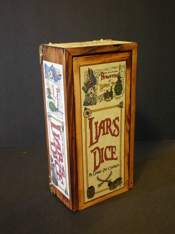 $75.00 Option - One Set of Liars Dice - A Game of Chance  Handcrafted Wood Box with Brass & Pewter Embellishments  Original Box Artwork by Me  Comes Complete with Dice, Pirate Coins, Cups & Rules
