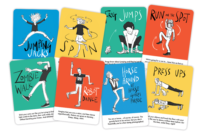 42 unique and quirky ACTION CARDS that describe challenging, silly and fun actions