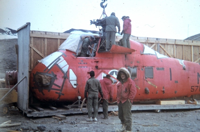 Uncrating U.S. Navy VX-6 helicopter at McMurdo Station, Operation Deep Freeze, 1966 (Bill Fazio)