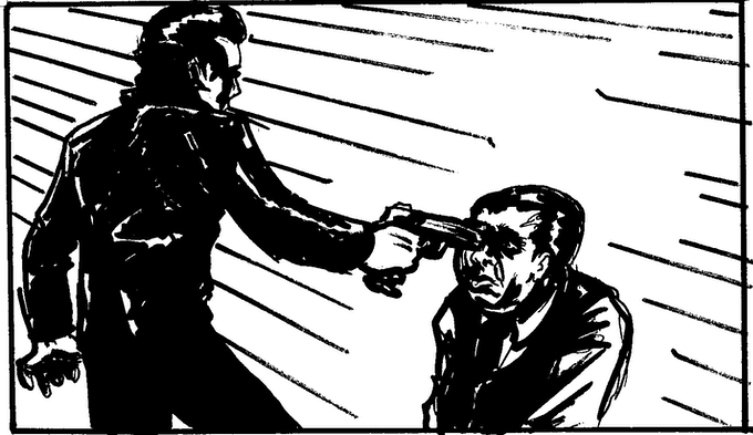 THE ASSASSIN POINTS THE GUN AT HIS FORMER  BOSS.
