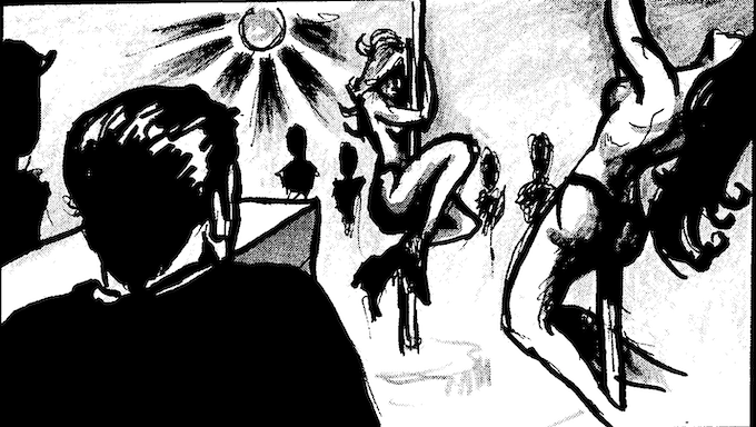 THE ASSASSIN ENTERS THE STRIP CLUB TO ELIMINATE HIS TARGET.